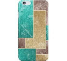 Mod Retro 1970s Worn Out Distressed Faux Velvet Upholstery Geometric L Shapes Teal Tan  iPhone Case/Skin