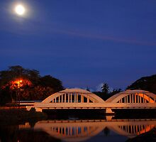Rainbow Bridge Haleiwa Hawaii night capture by Lesley Ortiz
