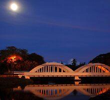 Rainbow Bridge Haleiwa Hawaii night capture by Lesley Ortiz