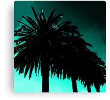 Palm Trees Silhouette - Teal Sunset Canvas Print