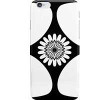 Tear Drop 4 Corner Centre Graphic Sunflower Black and White iPhone Case/Skin