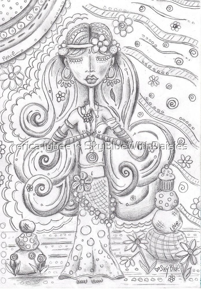 Yoga Gypsy Sketch – Whimsical Folk Art Girl in Namaste Pose by erica lubee  ~ SkyBlueWithDaisies