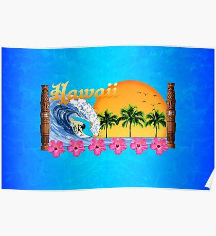 Hawaiian Surfing Poster