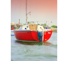 Red Sail Boat Photographic Print