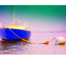 Blue Sailboat At Rest Photographic Print
