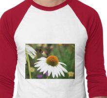 Echinacea Purpurea with Bee  Men's Baseball ¾ T-Shirt