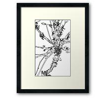 lichen on stick study Framed Print