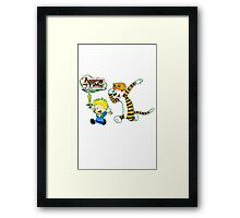 Adventure Time Calvin and Hobbes Framed Print