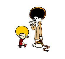 Calvin and Hobbes New Hair Photographic Print