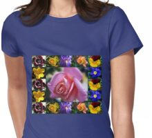 Mixed Flowers Collage Featuring Pink Rose Womens Fitted T-Shirt