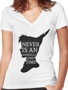 Peter Pan Quote Silhouette -- Never Is Women's Fitted V-Neck T-Shirt