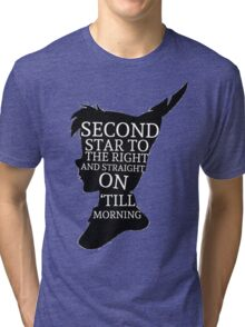 Peter Pan Quote Silhouette -- Second Star Tri-blend T-Shirt