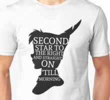 Peter Pan Quote Silhouette -- Second Star Unisex T-Shirt