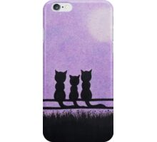 Cats Family with Tree Silhouette and Moon iPhone Case/Skin