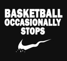 Basketball Occasionally Stops - Nike Parody (White) Kids Tee