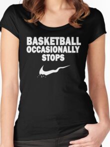 Basketball Occasionally Stops - Nike Parody (White) Women's Fitted Scoop T-Shirt