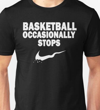 Basketball Occasionally Stops - Nike Parody (White) Unisex T-Shirt