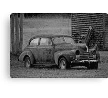 Old Rusty Antique Car Near Barn Canvas Print