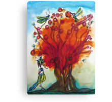 Red Tree with Birds Canvas Print