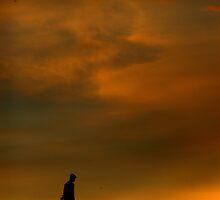 Working, well past sun down ! by Ritu Lahiri