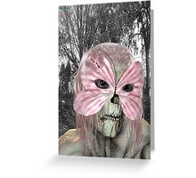 Pretty in Pink .. zombie in a mask Greeting Card