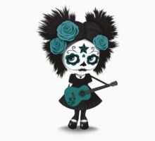 Teal Blue Sugar Skull Big Eyed Girl Playing the Guitar Kids Clothes