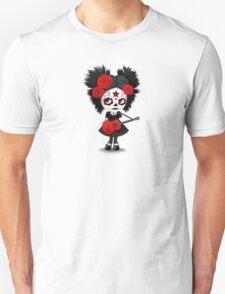 Red Sugar Skull Big Eyed Girl Playing the Guitar Unisex T-Shirt