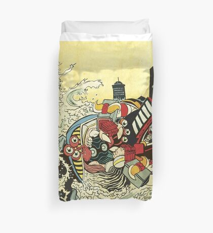 The Battle In The Harbor Duvet Cover