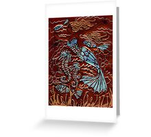 MERMAID AND SEA HORSES Greeting Card