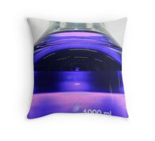 blue fluid in a 1000ml bottle with purple glare Throw Pillow