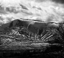 Mam Tor in Snow bw by Andy Morley