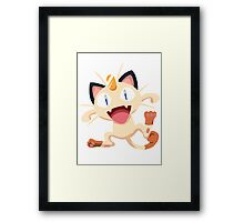 Meowth Pokemon Simple No Borders Framed Print
