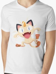 Meowth Pokemon Simple No Borders Mens V-Neck T-Shirt