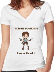 Tomb Raider Chibi Lara Women's Fitted V-Neck T-Shirt
