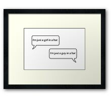 Just a girl and a guy in a bar. Framed Print