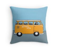 Cats on the School Bus Throw Pillow