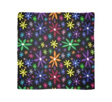 Colorful Retro Flowers on Black Oil Pastel Scarf