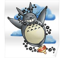Flying On Top Totoro Poster