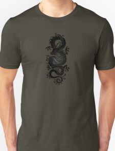Black Chinese Dragon on Red Unisex T-Shirt