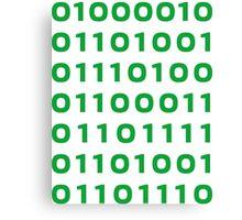 Bitcoin binary Canvas Print