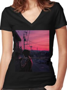 champloo in tokyo  Women's Fitted V-Neck T-Shirt
