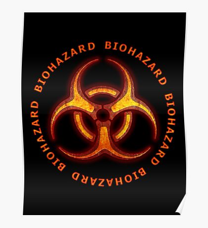 Red Biohazard Sign Poster
