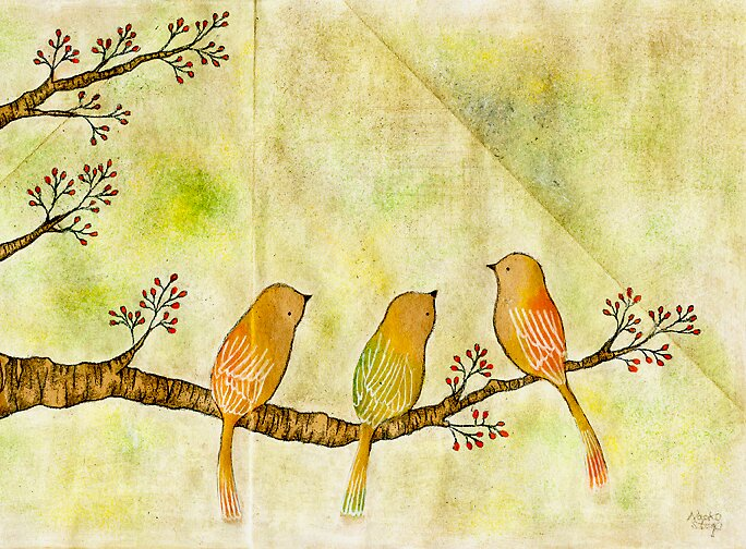 Birds on Berry Treee -Akebono- by naokosstoop