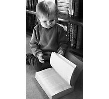 Little Girl, Big Book  Photographic Print