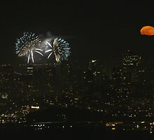 Fireworks and Mr Moon by fototaker