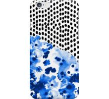 Monroe - India ink, indigo, dots, spots, print pattern, surface design iPhone Case/Skin