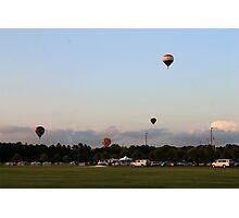 hot air balloons at sunset Photographic Print