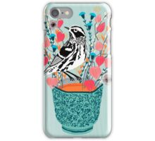 Tea and Flowers - Black and White Warbler by Andrea Lauren iPhone Case/Skin