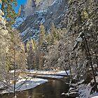 Half Dome in Snow  by photosbyflood