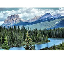 Castle Mountain and Bow River, Banff NP Photographic Print